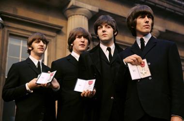 (left to right) Ringo Starr, John Lennon, Paul McCartney and George Harrison of The Beatles