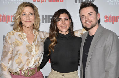 Edie Falco, Jamie-Lynn Sigler and Robert Iler attend The Sopranos 20th Anniversary Red carpet and Panel Discussion during the Sopranos Film Festival at SVA Theatre in New York, NY, January 9, 2019. (