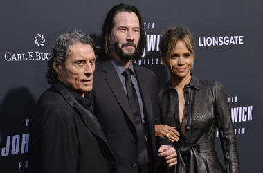"(L-R) Ian McShane, Keanu Reeves and Halle Berry at Lionsgate's ""John Wick: Chapter 3 - Parabellum"" Los Angeles Special Screening held at the TCL Chinese Theater in Hollywood, CA on Wednesday, May 15, 2019."