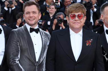 Taron Egerton and Sir Elton John attending the Rocketman premiere, held at the Grand Theatre Lumiere during the 72nd Cannes Film Festival.
