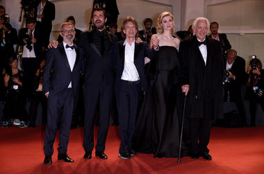 Mick Jagger, Giuseppe Capotondi, Donald Sutherland, Elizabeth Debicki, Claes Bang attending The Burnt Orange Heresy premiere at the 76th Venice Film Festival 2019 in Italy
