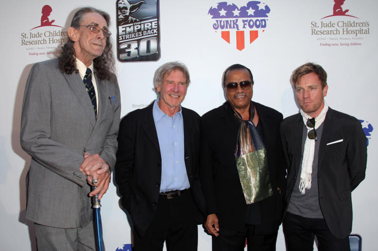 Peter Mayhew, Harrison Ford, Billy Dee Williams and Ewan McGregor arrive to St. Jude's 30th anniversary screening of 'The Empire Strikes Back'