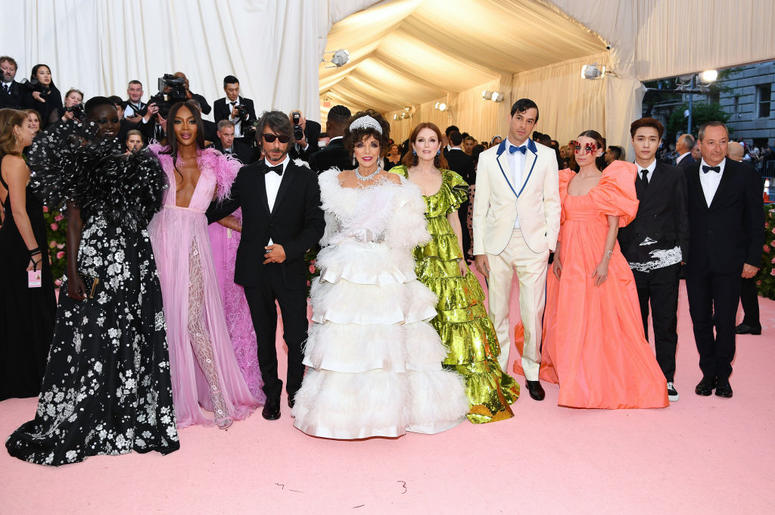 Adut Akech, Naomi Campbell, Pierpaolo Piccioli, Joan Collins, Julianne Moore, Mark Ronson, Lykke Li, Lay Zhang and Stefano Sassi attend The 2019 Met Gala