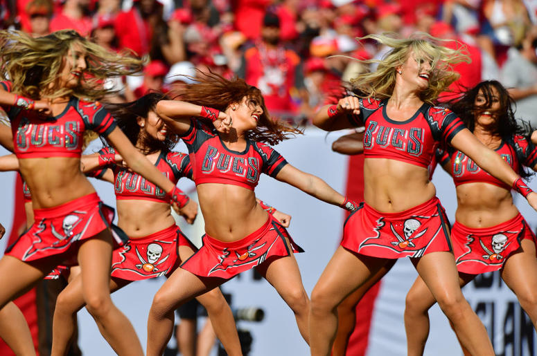 Tampa Bay Buccaneers cheerleaders perform after the first quarter of a football game against the San Francisco 49ers at Raymond James Stadium on September 08, 2019 in Tampa, Florida.