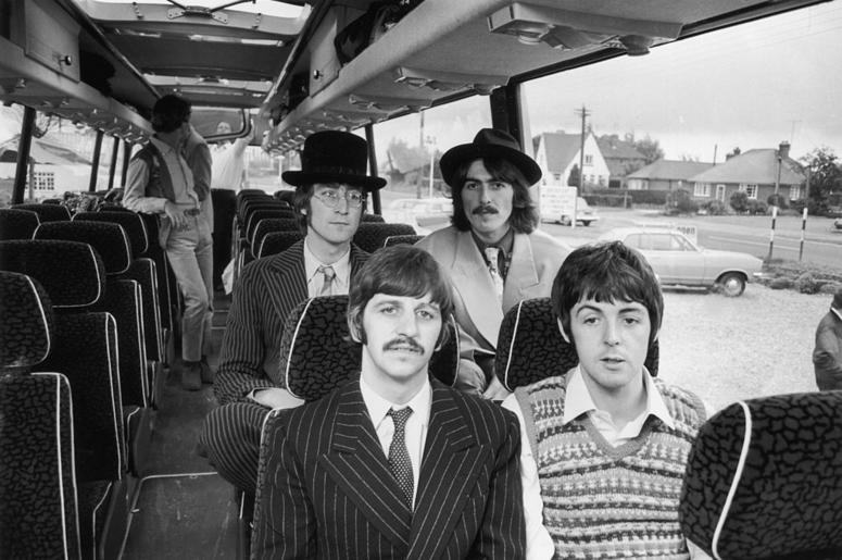 The Beatles travel by coach to the West Country, for some location work on 'The Magical Mystery Tour' film. Clockwise from back left : John Lennon (1940 - 1980), George Harrison (1943 - 2001), Paul McCartney and Ringo Starr.