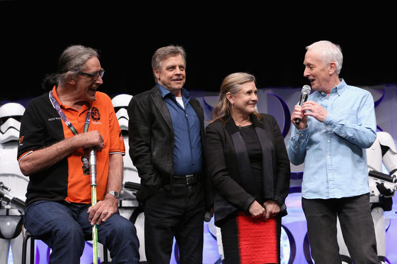 (L-R) Actors Peter Mayhew, Mark Hamill, Carrie Fisher and Anthony Daniels speak onstage during Star Wars Celebration 2015