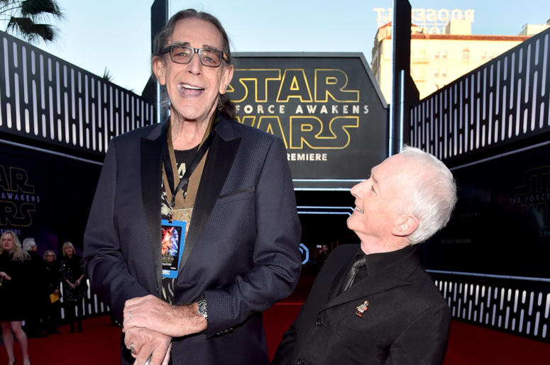 """Actors Peter Mayhew (L) and Anthony Daniels attend the World Premiere of """"Star Wars: The Force Awakens"""