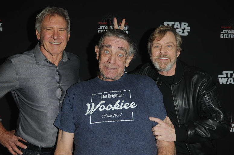 Harrison Ford, Peter Mayhew and Mark Hamill attend the 40 Years of Star Wars panel during the 2017 Star Wars Celebrationat Orange County Convention Center on April 13, 2017 in Orlando, Florida.