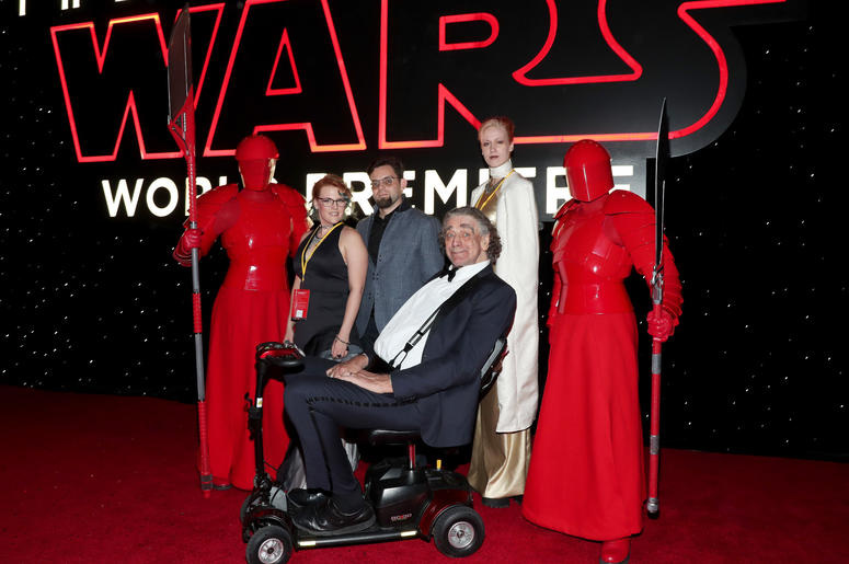 Peter Mayhew (C) and family with the Praetorian Guard at the world premiere of Lucasfilm's Star Wars: The Last Jedi