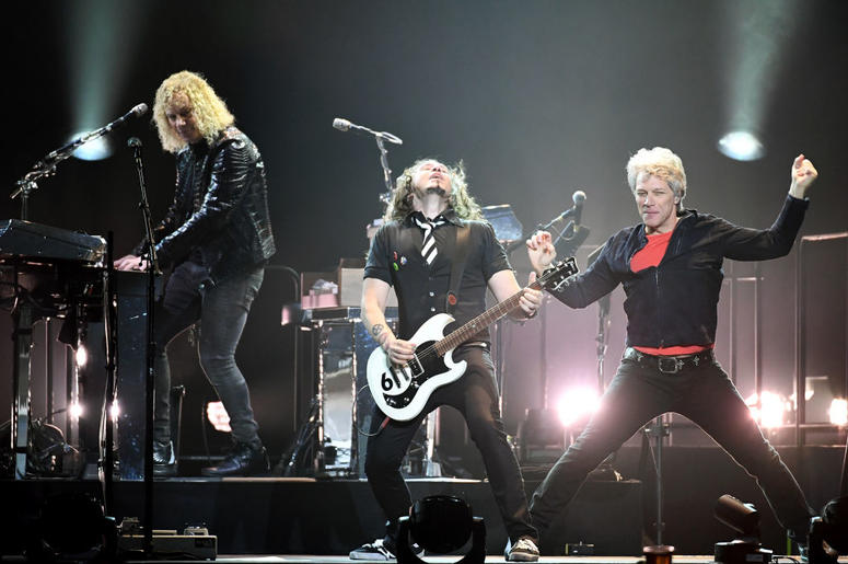 Keyboardist David Bryan, guitarist Phil X and frontman Jon Bon Jovi of Bon Jovi perform during a stop of the band's This House is Not for Sale Tour at T-Mobile Arena on March 17, 2018 in Las Vegas, Nevada.