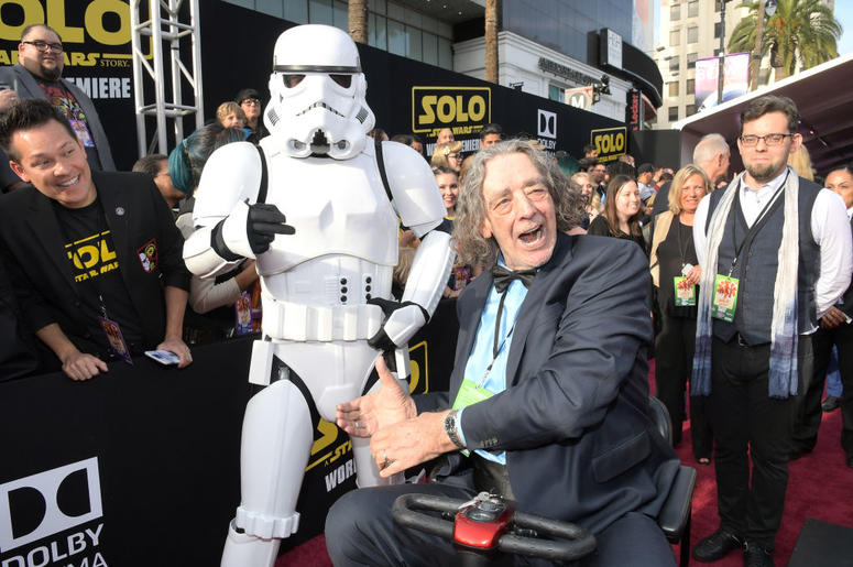 """Actor Peter Mayhew attends the world premiere of """"Solo: A Star Wars Story"""" in Hollywood on May 10, 2018."""