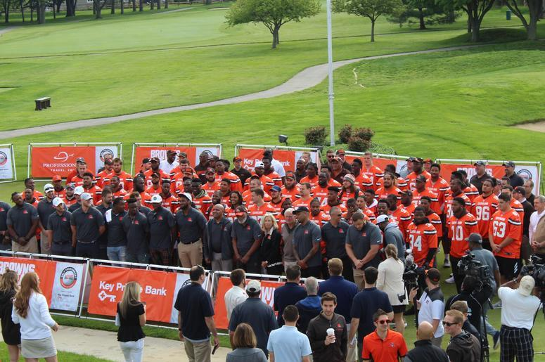 Members of the organization pose for a group photo at the 19th annual Cleveland Browns Foundation Golf Outing on May 21, 2018