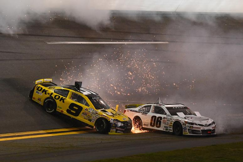 ARCA Series drivers Thomas Praytor (9) and Chuck Hiers (06) wreck during the Lucas Oil 200 at Daytona International Speedway.