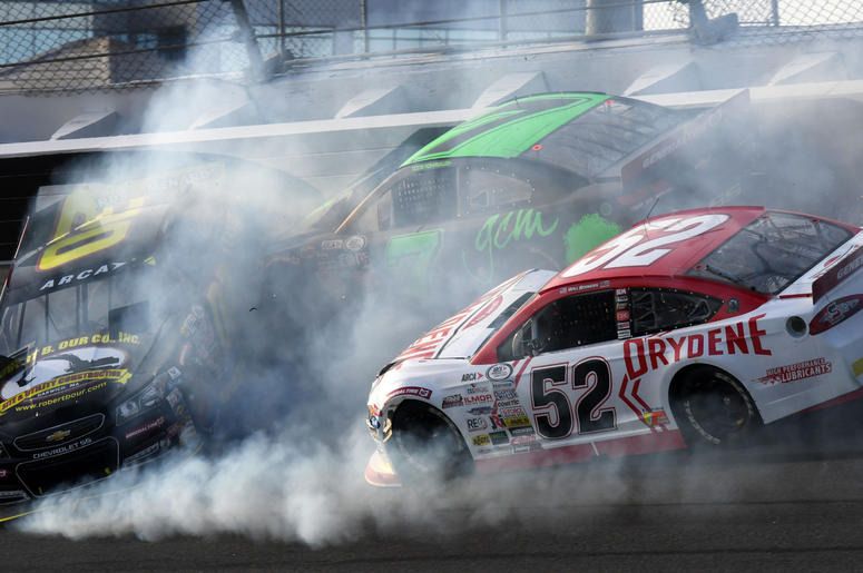 ARCA Series driver Codie Rohrbaugh (7) and Andy Seuss (02) and Will Rogers (52) wreck during the Lucas Oil 200 at Daytona International Speedway. M