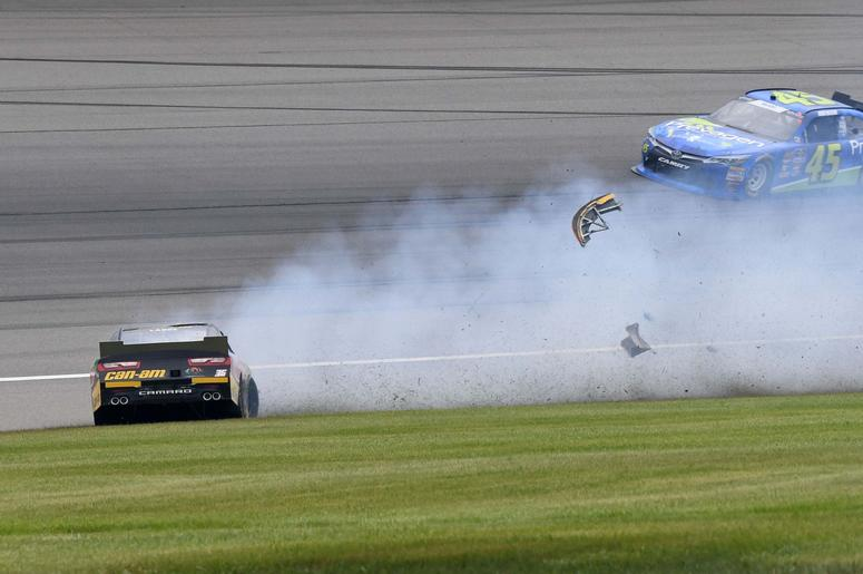 NASCAR Xfinity Series driver Alex Labbe (36) wrecks during the LTI Printing 250 at Michigan International Speedway.