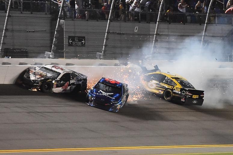 ASCAR Cup Series driver Kevin Harvick (4), NASCAR Cup Series driver Bubba Wallace (43) and NASCAR Cup Series driver Trevor Bayne (6) wreck during the Coke Zero Sugar 400 at Daytona International Speedway.