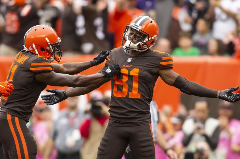 Cleveland Browns wide receiver Rashard Higgins (81) celebrates his touchdown against the Baltimore Ravens with wide receiver Antonio Callaway (11) during the second quarter at FirstEnergy Stadium.