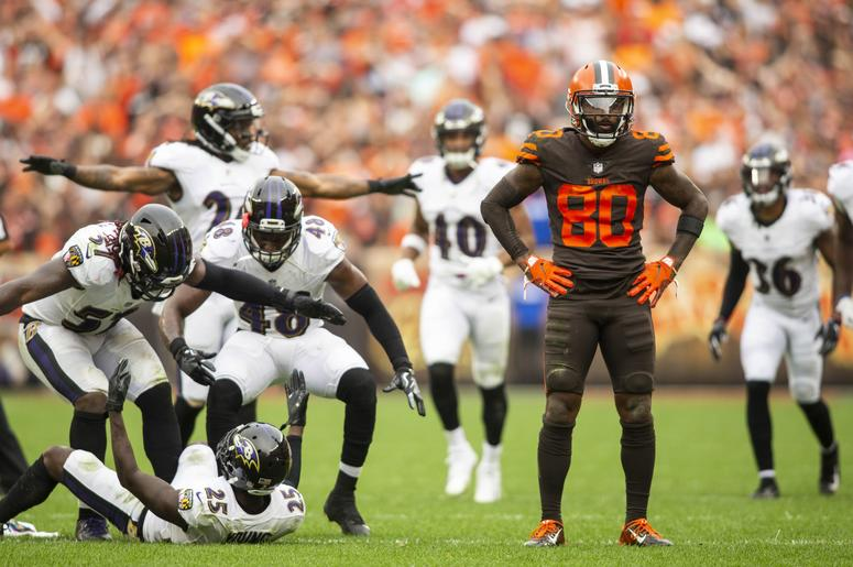 1b7d29364c5 Cleveland Browns wide receiver Jarvis Landry (80) reacts after missing a  catch as the