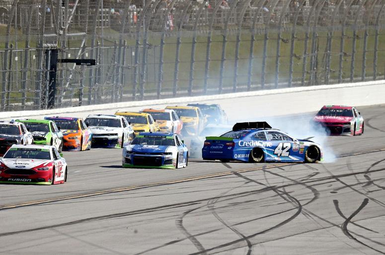 ASCAR Cup Series driver Kyle Larson (42) wrecks during the 1000Bulbs.com at Talladega Superspeedway.