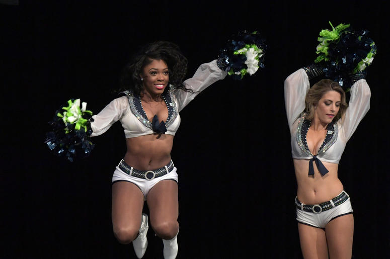 Seattle Seahawks Sea Gals cheerleaders perform before a game against the Los Angeles Chargers at CenturyLink Field.
