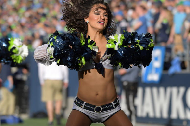 Seattle Seahawks sea gals cheerleaders perform during the game against the Los Angeles Chargers at CenturyLink Field.