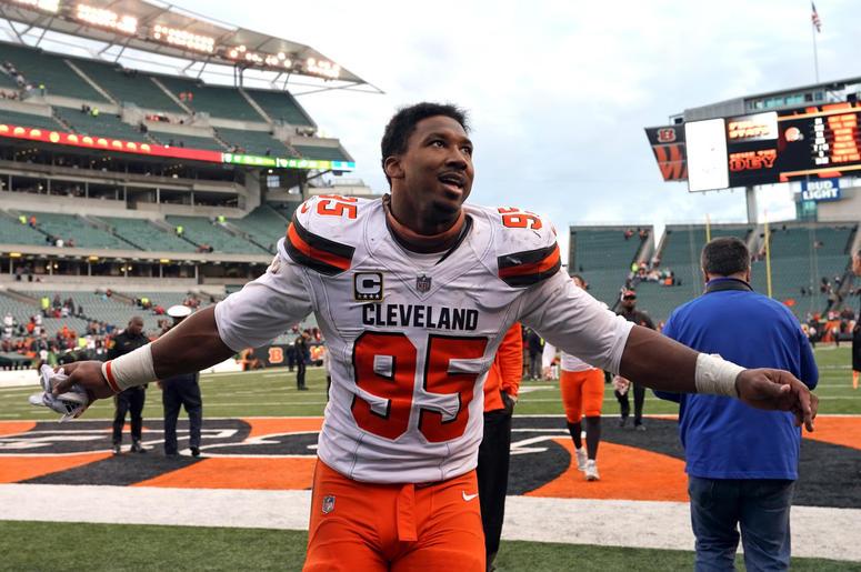 leveland Browns defensive end Myles Garrett (95) reacts after defeating the Cincinnati Bengals at Paul Brown Stadium