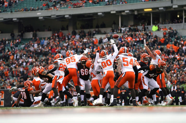 Cincinnati Bengals kicker Randy Bullock (not pictured) misses an extra point attempt against the Cleveland Browns in the first half at Paul Brown Stadium.