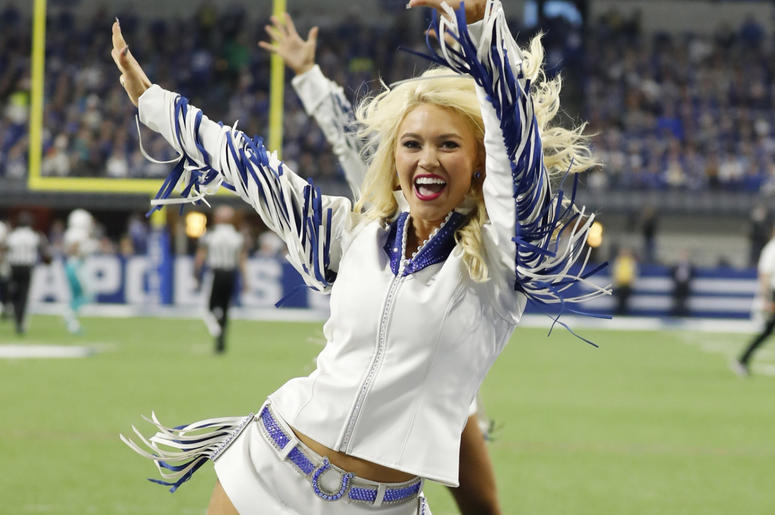 ndianapolis Colts cheerleader performs a dance routine in a game against the Miami Dolphins during the first quarter at Lucas Oil Stadium.