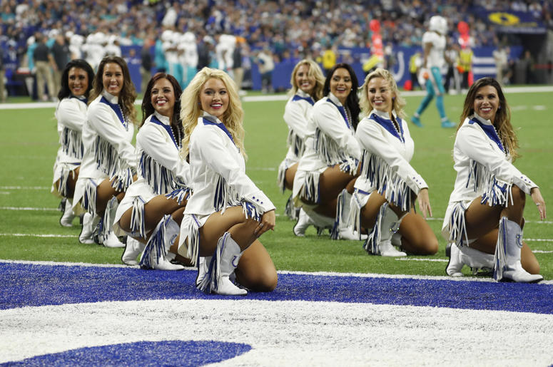 ndianapolis Colts cheerleaders perform a dance routine in a game against the Miami Dolphins during the first quarter at Lucas Oil Stadium.