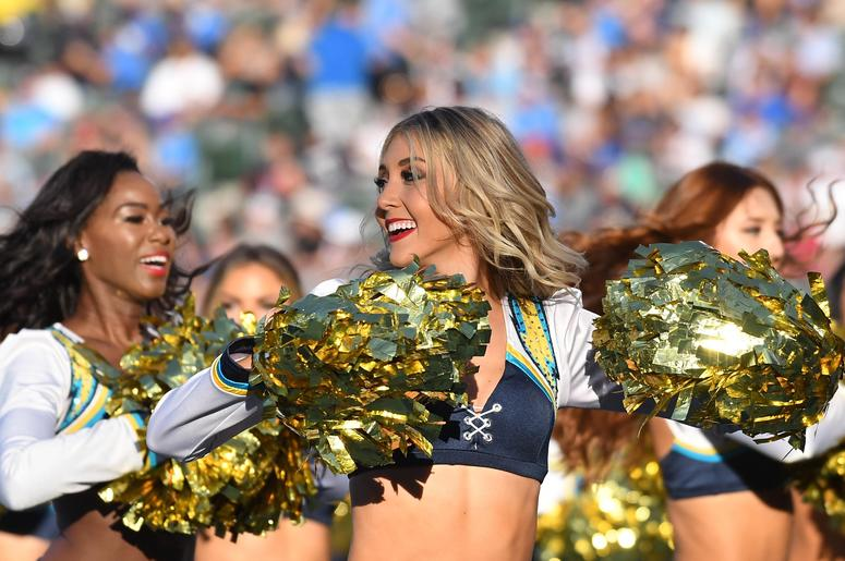 os Angeles Chargers cheerleaders perform against the Arizona Cardinals in the second half at the StubHub Center.