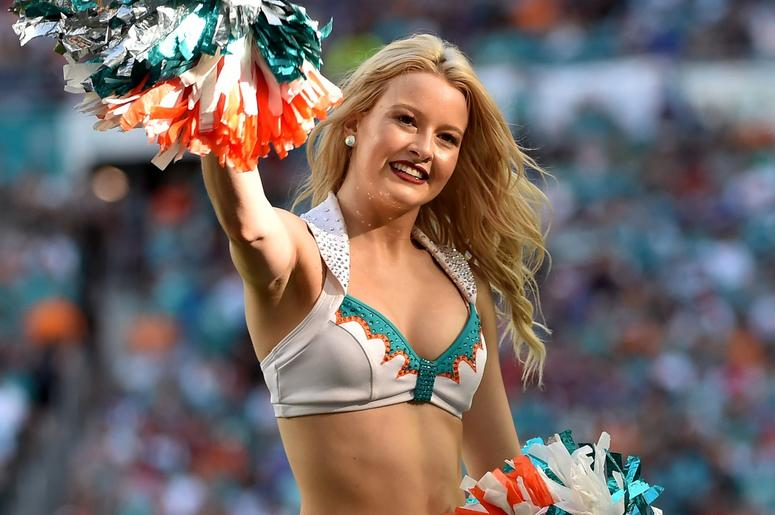 Miami Dolphins cheerleader performs against the Buffalo Bills during the second half at Hard Rock Stadium.