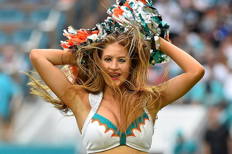 Dec 9, 2018; Miami Gardens, FL, USA; A Miami Dolphins cheerleader performs during the second half between the Miami Dolphins and the New England Patriots at Hard Rock Stadium. Mandatory Credit: Jasen Vinlove-USA TODAY Sports