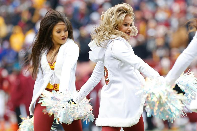 Dec 9, 2018; Landover, MD, USA; Washington Redskins cheerleaders dance on the field during a timeout against the New York Giants in the second quarter at FedEx Field. The Giants won 40-16. Mandatory Credit: Geoff Burke-USA TODAY Sports