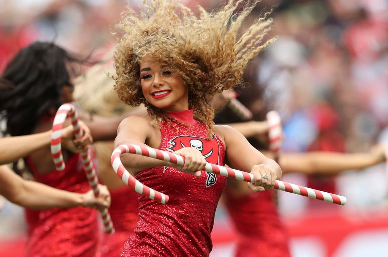 Dec 9, 2018; Tampa, FL, USA; Tampa Bay Buccaneers cheerleaders perform during the game against the New Orleans Saints at Raymond James Stadium. Mandatory Credit: Kevin Jairaj-USA TODAY Sports