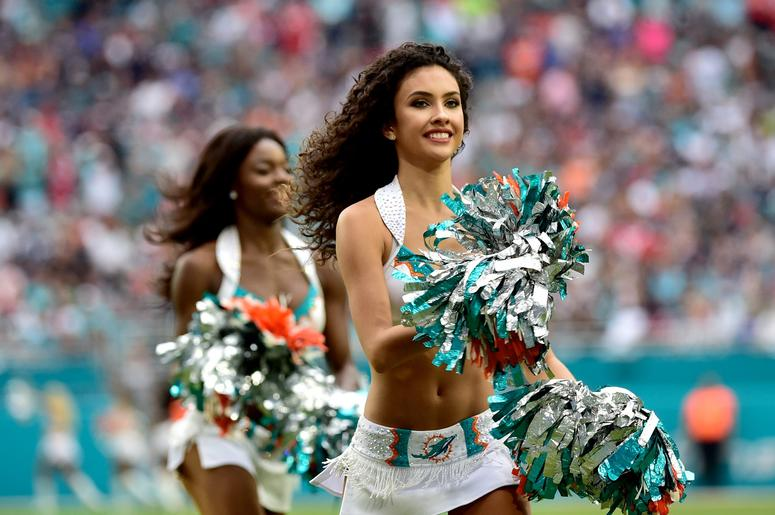 Dec 9, 2018; Miami Gardens, FL, USA; Miami Dolphins cheerleader performs against the New England Patriots during the second half at Hard Rock Stadium. Mandatory Credit: Steve Mitchell-USA TODAY Sports