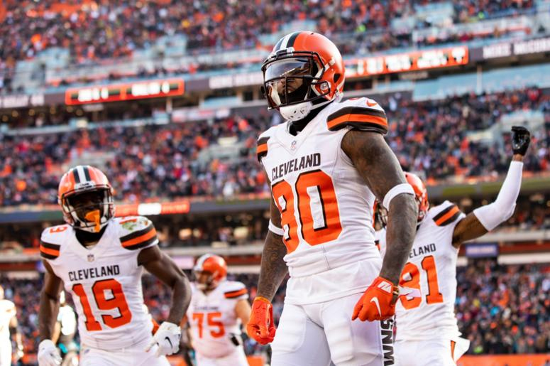 Dec 9, 2018; Cleveland, OH, USA; Cleveland Browns wide receiver Jarvis Landry (80) celebrates after scoring a touchdown against the Carolina Panthers during the first quarter at FirstEnergy Stadium. Mandatory Credit: Scott R. Galvin-USA TODAY Sports