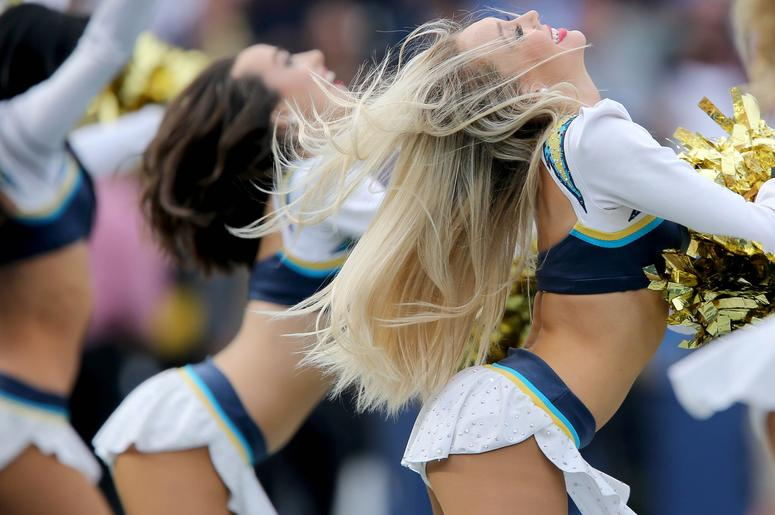 Dec 9, 2018; Carson, CA, USA; The Los Angeles Chargers cheerleaders perform between the first and second quarters of the game , Sunday, Dec. 9, 2018, at StubHub Center in Carson, California. Mandatory Credit: Kareem Elgazzar/The Cincinnati Enquirer-USA TO