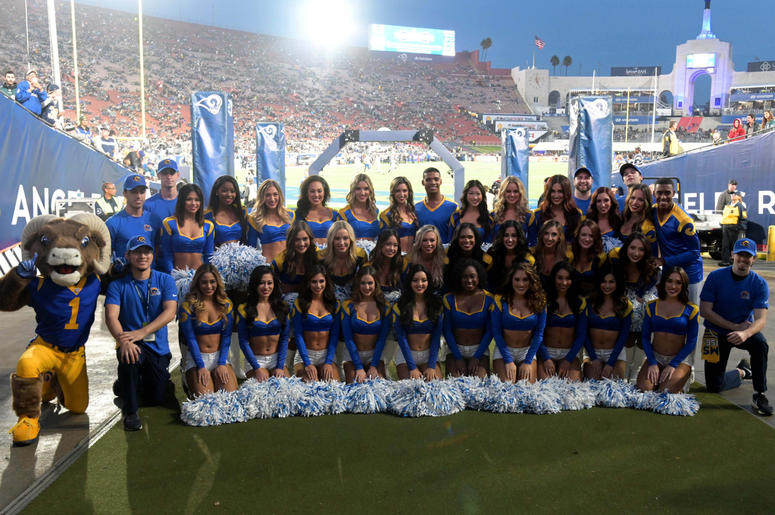 Los Angeles Rams cheerleaders pose for a picture before a game against the Philadelphia Eagles at Los Angeles Memorial Coliseum.