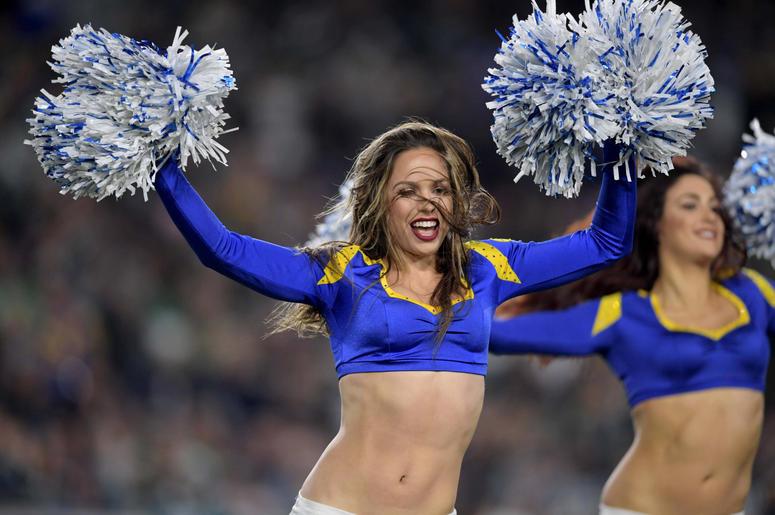 Los Angeles Rams cheerleaders perform against the Philadelphia Eagles during the first half at Los Angeles Memorial Coliseum.