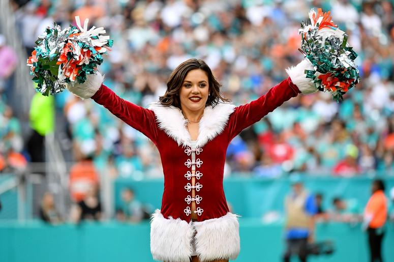 A Miami Dolphins cheerleader performs during the second half against the Jacksonville Jaguars at Hard Rock Stadium.