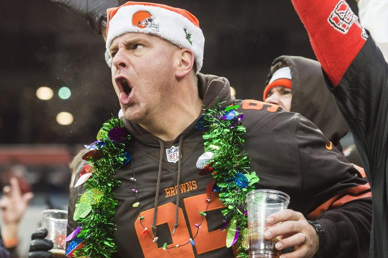 A Cleveland Browns fan cheers during the second half against the Cincinnati Bengals at FirstEnergy Stadium.