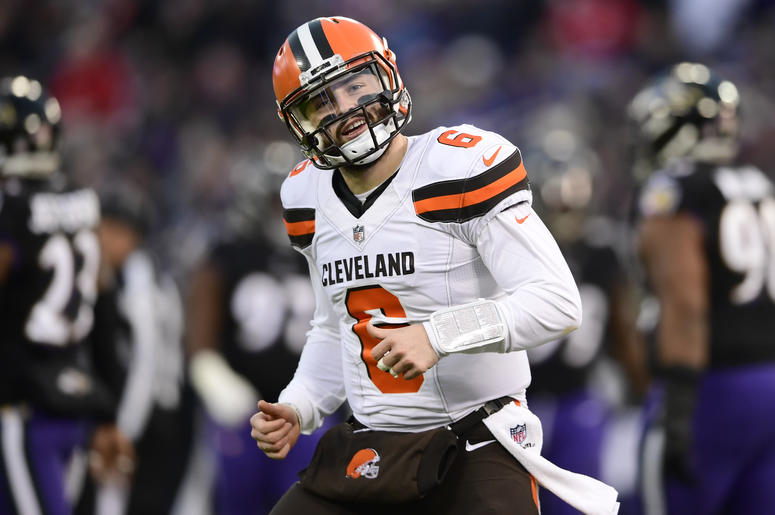 Dec 30, 2018; Baltimore, MD, USA; Cleveland Browns quarterback Baker Mayfield (6) reacts after throwing a touchdown to wide receiver Breshad Perriman (not pictured) during the first quarter against the Baltimore Ravens at M&T Bank Stadium. Mandatory Credi