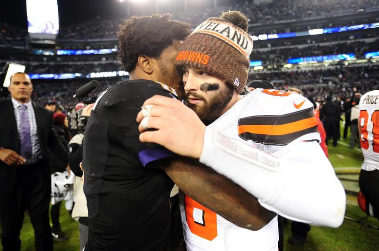 Baltimore Ravens quarterback Lamar Jackson (8) is congratulated by Cleveland Browns quarterback Baker Mayfield (6) after the game at M&T Bank Stadium.