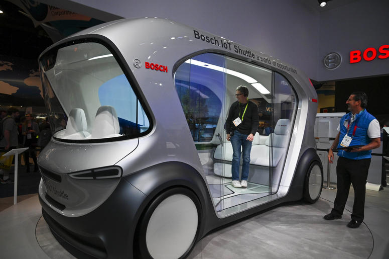 Jan 8, 2019; Las Vegas, NV; Bosch shows off a concept vehicle, the IoT Shuttle during the opening day of Consumer Electronics Show 2019 at the Las Vegas Convention Center. The driverless shuttle van was designed to show off the company's technologies.