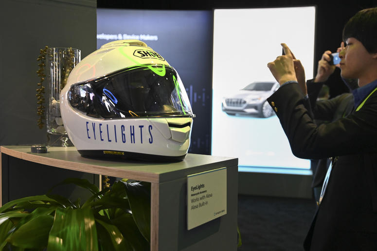 Jan 9, 2019; Las Vegas, NV; Eyelightings, an Alexa enabled motorcycle helmet, on display at the Amazon space at the Consumer Electronics Show at the Sands Expo Convention Center.