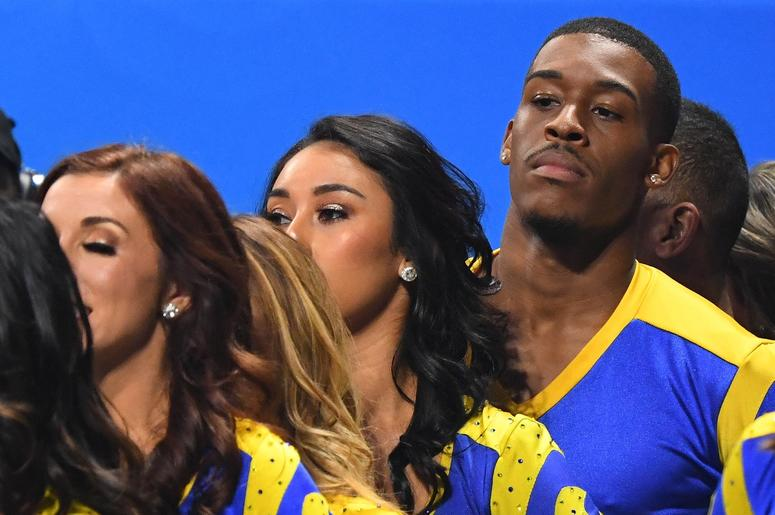 Los Angeles Rams cheerleaders look on during the second half against the New England Patriots in Super Bowl LIII at Mercedes-Benz Stadium.