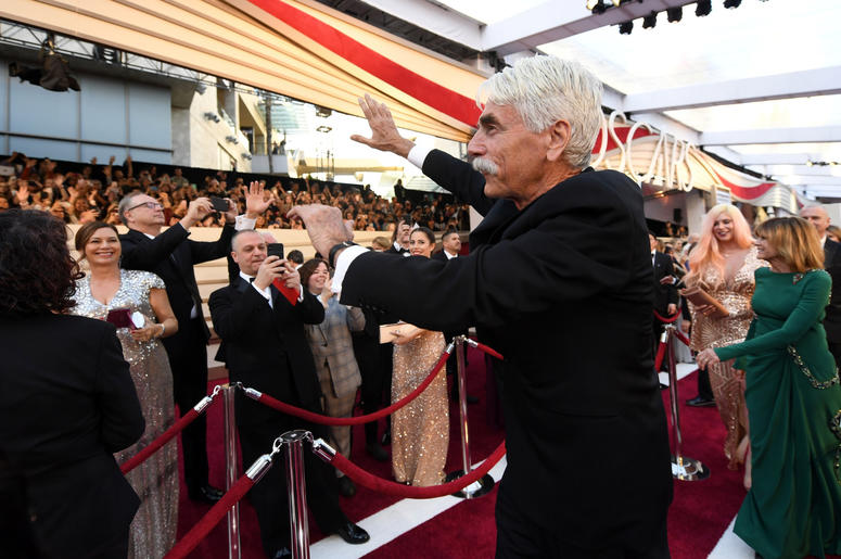 Sam Elliott arrives at the 91st Academy Awards at the Dolby Theatre.
