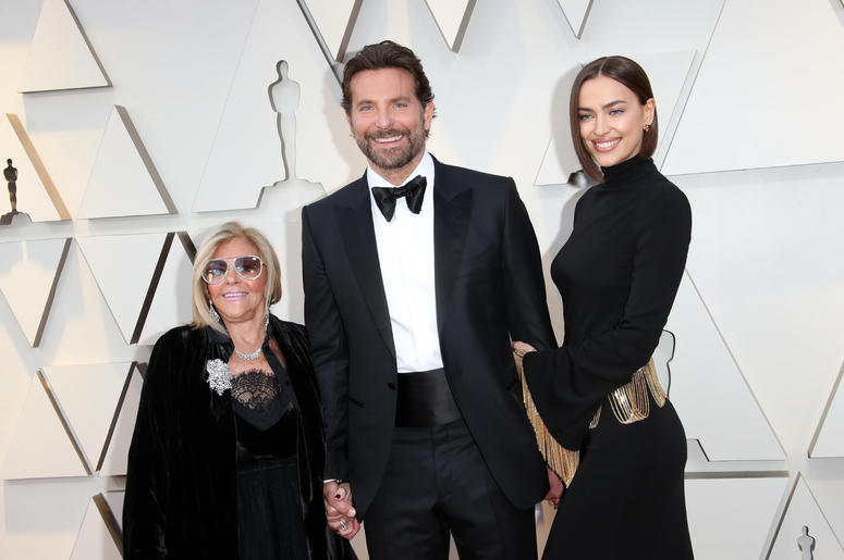 Gloria Campano, from left, Bradley Cooper, and Irina Shayk arrive at the 91st Academy Awards at the Dolby Theatre.