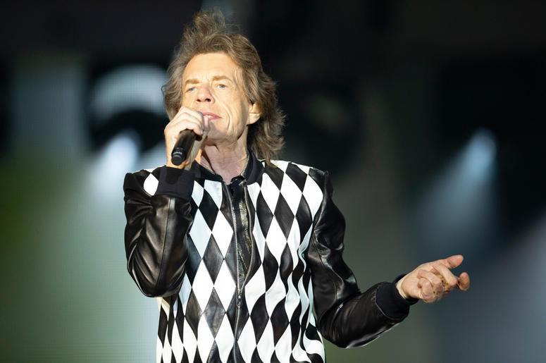 Lead singer Mick Jagger of the Rolling Stones performs at Soldier Field in Chicago