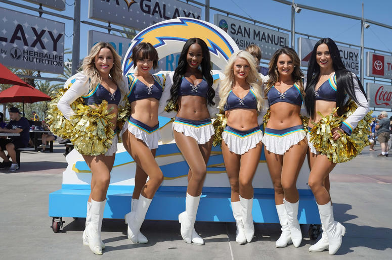 Los Angeles Chargers girls cheerleaders pose before the game against the Indianapolis Colts at Dignity Health Sports Park